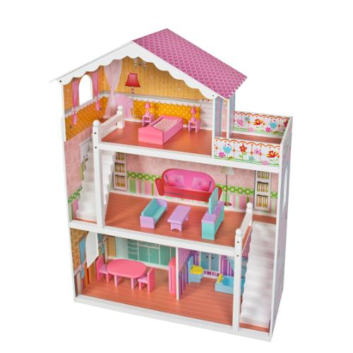 Large Children's Wooden Dollhouse Fits Barbie Doll House Pink With Furniture