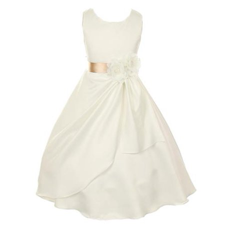 Big Girls Ivory Champagne Bridal Dull Satin Sequin Flowers Occasion Dress 8