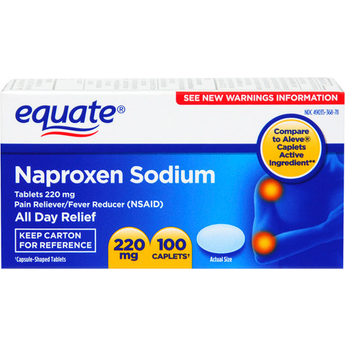 Equate Naproxen Sodium 220mg Caplets,100 count