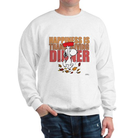 CafePress - Peanuts Happiness Thanksgiving Dinner - Crew Neck Sweatshirt (Peanuts Thanksgiving Special)