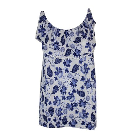 INC Womens Blue Ruffled  Crochet Trim Leaves Sleeveless Scoop Neck Top  Size: XL ()