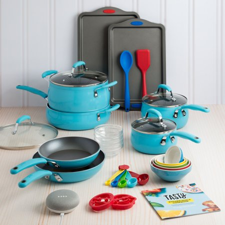 (Tasty 30 Piece Non-Stick Cookware Set + Google Home Mini - Blue)