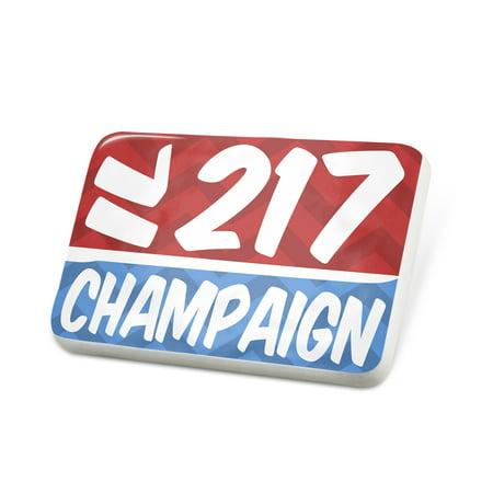 Porcelein Pin 217 Champaign, IL red/blue Lapel Badge – NEONBLOND ()