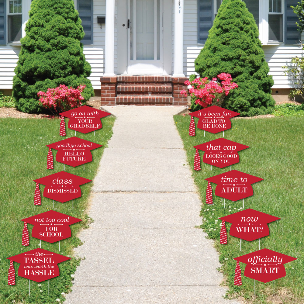 Red Grad Caps - Shaped Outdoor Grad Lawn Decor - Graduation Party Yard Signs – 10 Piece