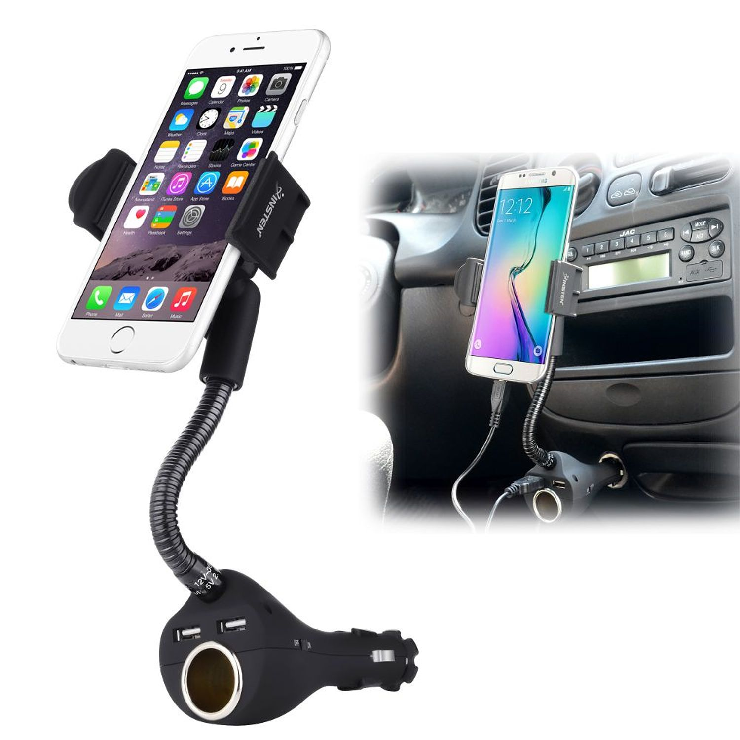 Car Mount Phone Holder with 2-Port USB Charger & Socket For Apple iPhone X 7 8 Plus 6S 6 SE 5S by Insten/ Samsung Galaxy S9 S9+ Plus S8 S7 S6 J7 J3 J1 Note 8 / LG G6 G5 K7 K8v K20 Stylo 3 2