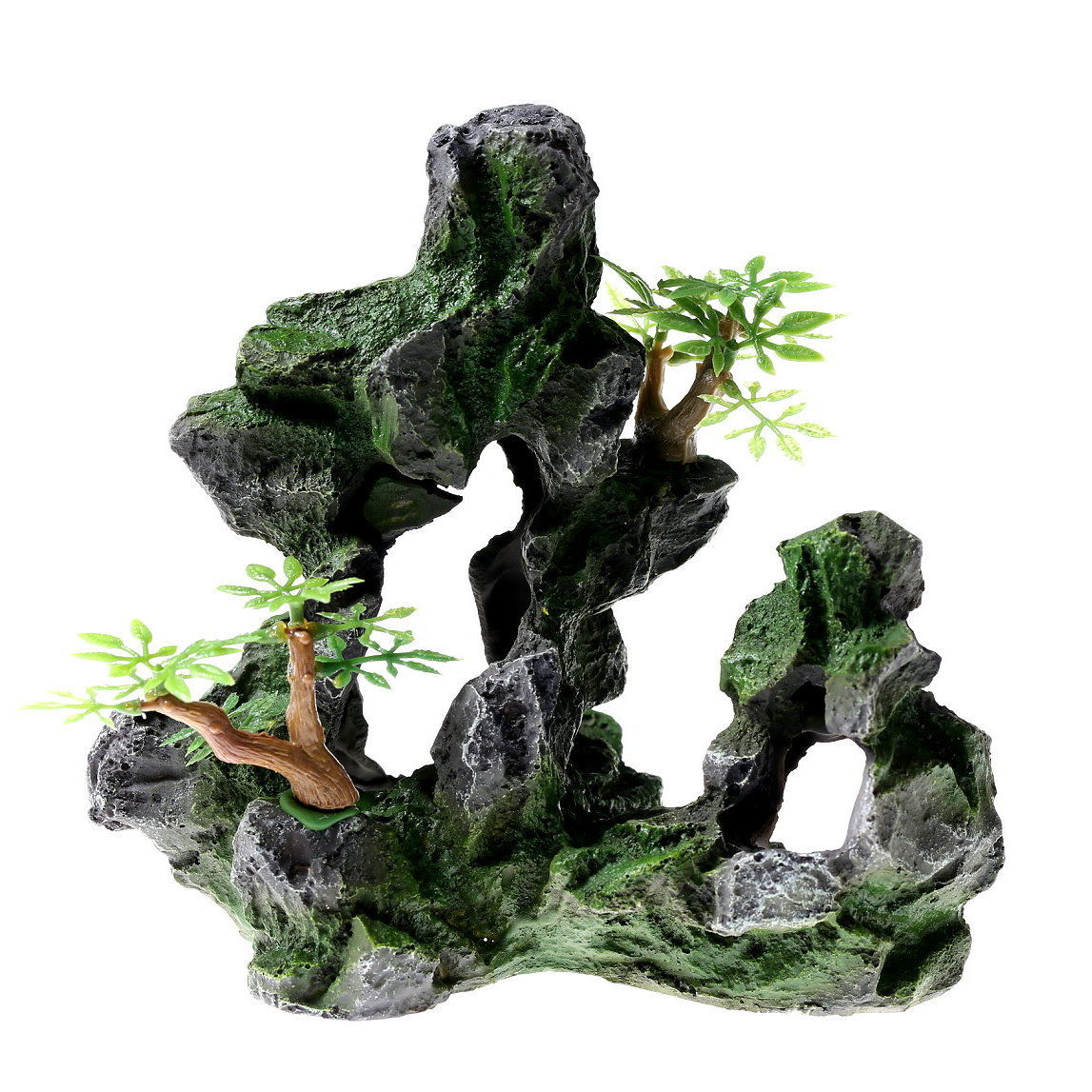 "Rock Cave 6.7"" Aquarium Ornament Decoration Fish Tank Stone Mountain View Resin"