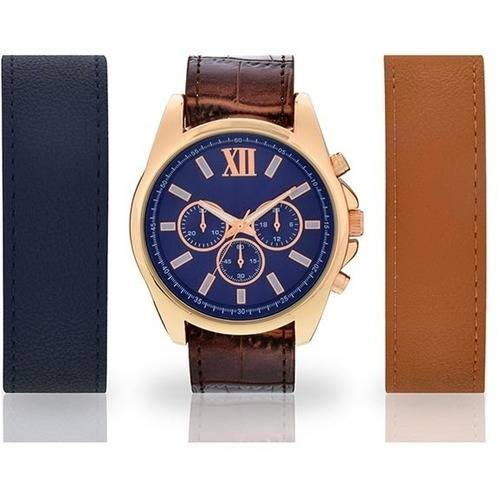 Men's Rose Gold-Tone Watch with 3-Piece Interchangeable Strap Set
