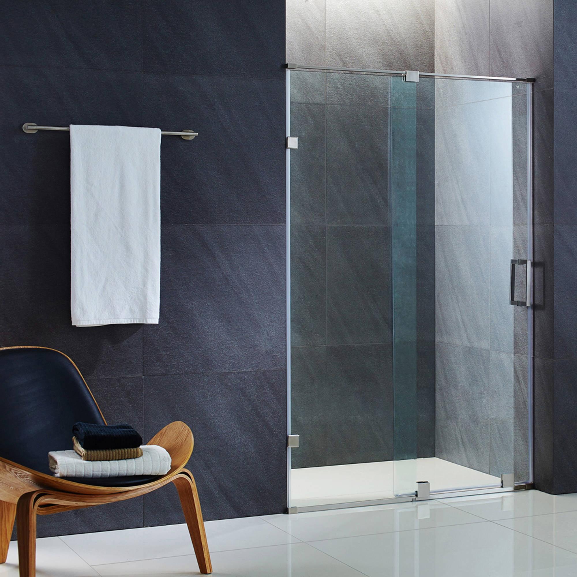 """VIGO Ryland 50"""" Frameless Shower Door, 3/8"""" Clear Glass/Stainless Steel Hardware"""