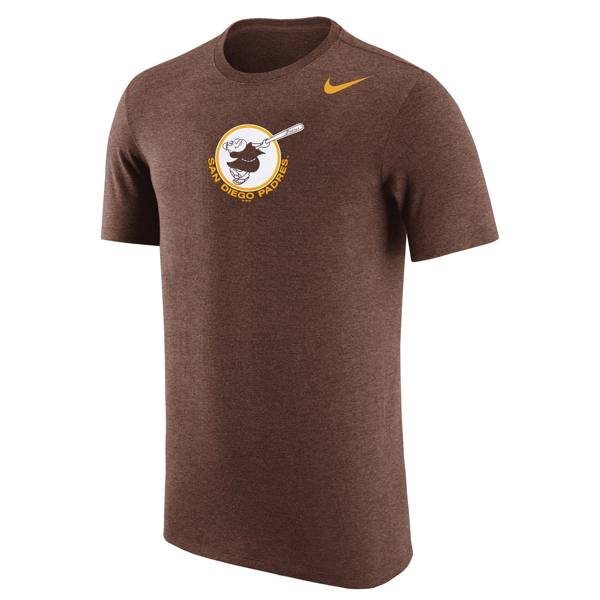 Men's Nike Brown San Diego Padres Cooperstown Retro Logo Tri-Blend T-Shirt
