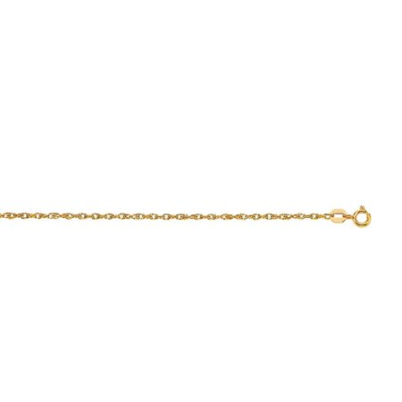 14k Carded Rope Pendant - 14k 16 Inch Yellow Gold Sparkle-Cut Carded Pendant Rope Chain With Spring Ring Clasp Necklace