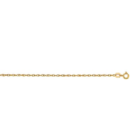 14k 16 Inch Yellow Gold Sparkle-Cut Carded Pendant Rope Chain With Spring Ring Clasp Necklace Entwined Rings Necklace