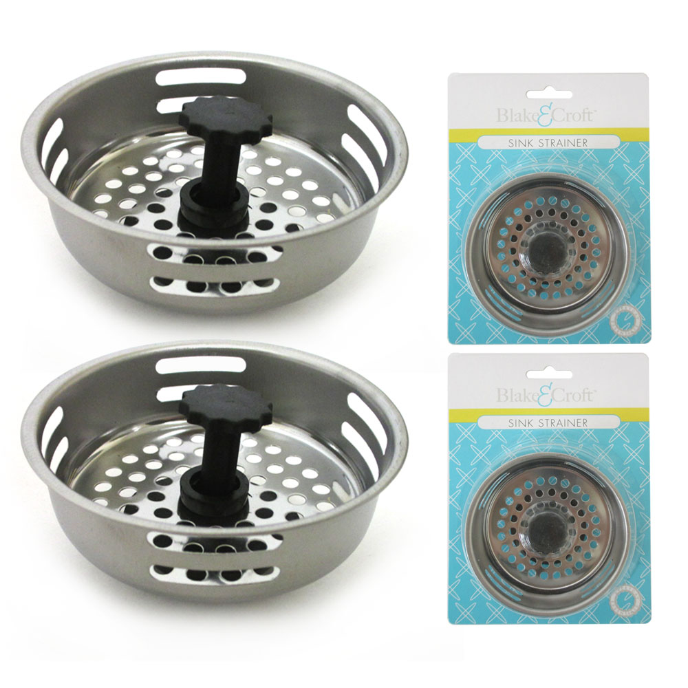 2 Pc Stainless Steel Kitchen Sink Drain Strainer Basket Stopper Filter 3.1/5""