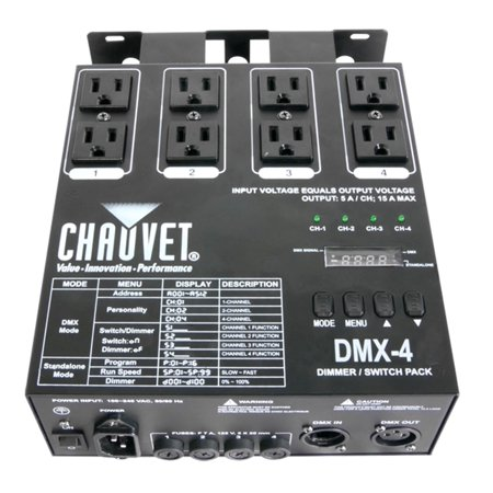 Chauvet DMX-4 4 Channel DMX-512 DJ Dimmer/Switch Relay Pack Light Controller 4 Zone Switching Relay