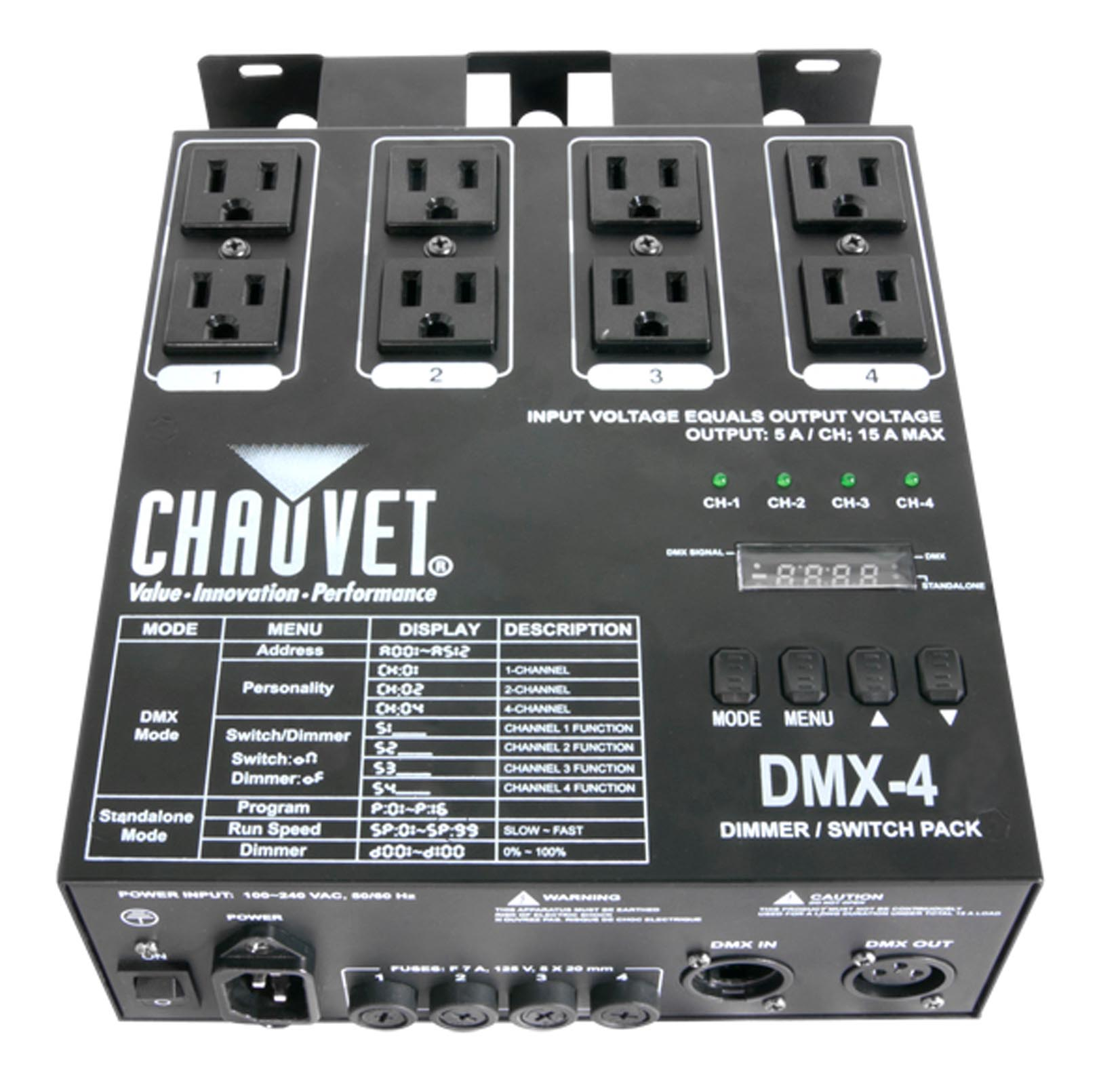 Chauvet DMX-4 4 Channel DMX-512 DJ Dimmer/Switch Relay Pack Light Controller