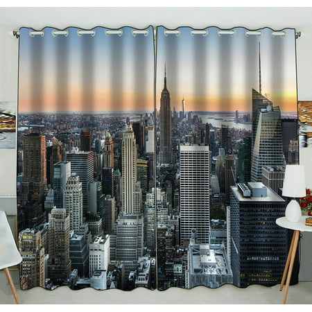 Phfzk city window curtain new york skyline at sunset Blackout curtains city skyline