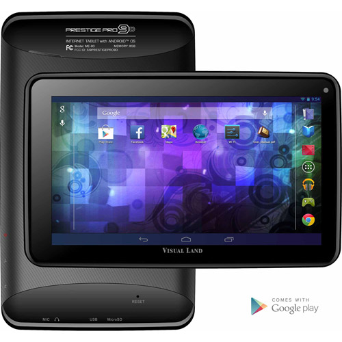 "Visual Land 9"" Tablet 8GB Memory Dual Core Bonus Case"