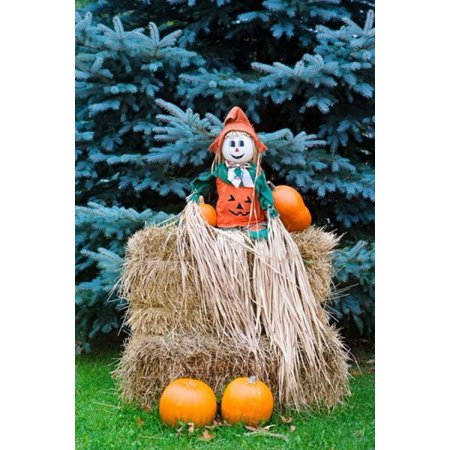 Wisconsin Autumn haystack Halloween decorations Poster Print by Jaynes Gallery (Halloween Prints)