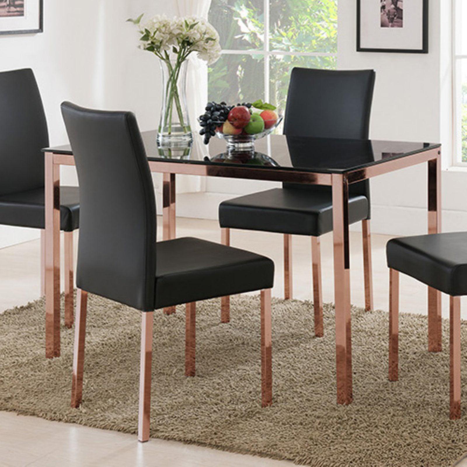 K&B Furniture D919-05 Rose Copper/Black Glass Top Dining Table