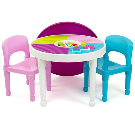 3pc Round Plastic Construction Table With Chairs & Cover - Humble Crew