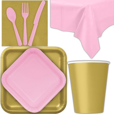 Pink And Gold Dessert Table (Disposable Party Supplies for 28 Guests - Gold and Lovely Pink - Square Dinner Plates, Square Dessert Plates, Cups, Lunch Napkins, Cutlery, and Tablecloths:  Tableware)