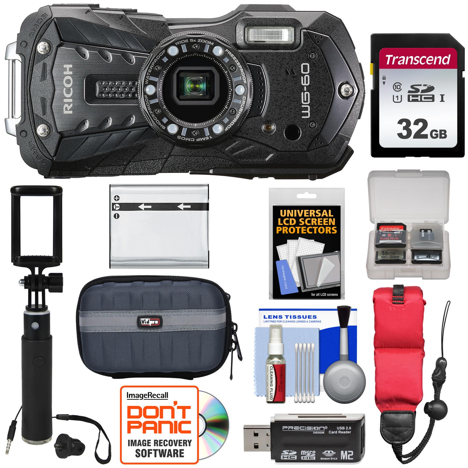Ricoh WG-60 Waterproof / Shockproof Digital Camera (Black) with 32GB Card + Battery + Case + Selfie Stick + Floating Strap + Kit