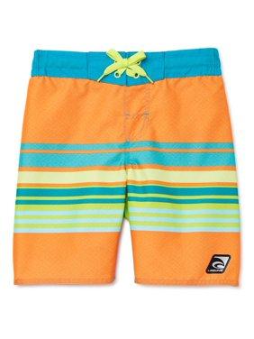 Laguna Boys Tropical Stripe Zippered Pocket Swim Trunk Shorts, UPF 50+, Sizes 8-20