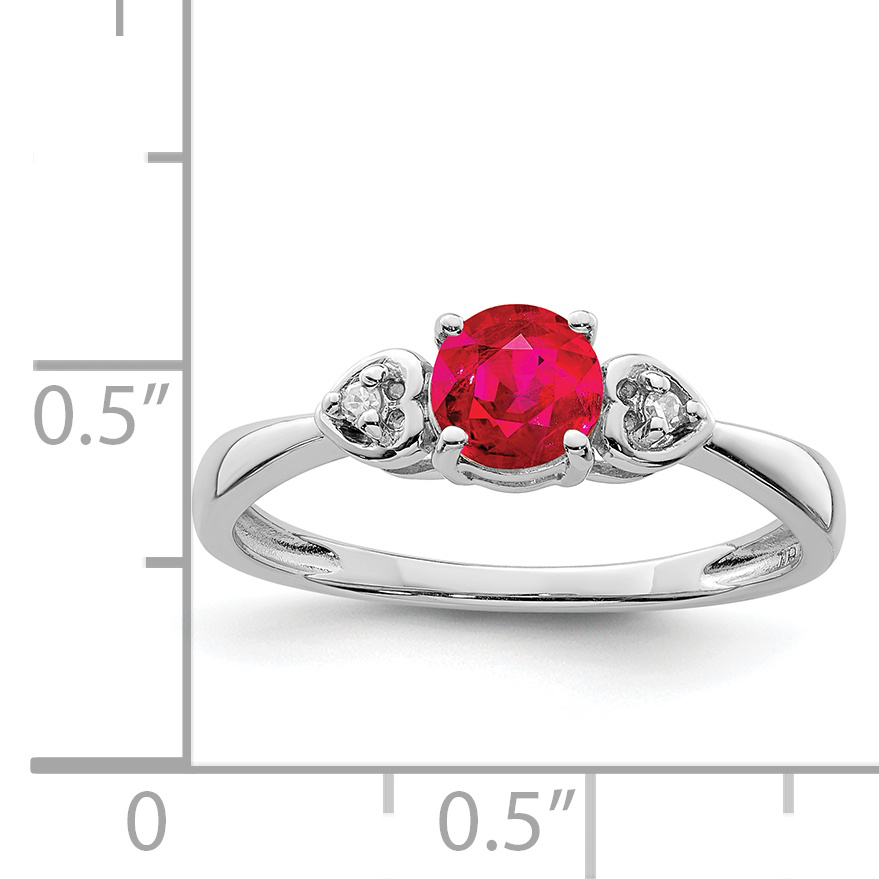 925 Sterling Silver Diamond Red Ruby Band Ring Size 7.00 Gemstone Fine Jewelry Gifts For Women For Her - image 1 of 2