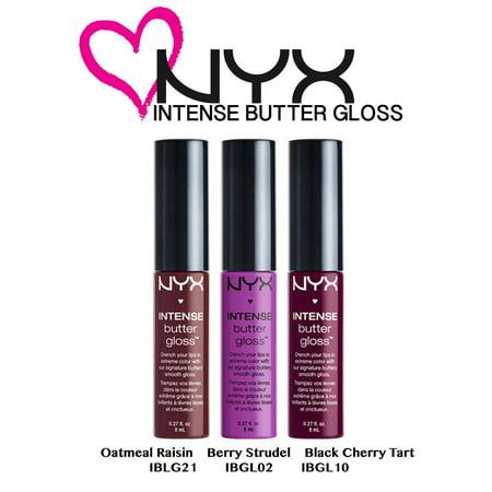 - NYX Intense Butter Gloss 3pc. Set: Oatmeal Raisin, Berry Strudel, Black Cherry Tart (IBLGSET04)