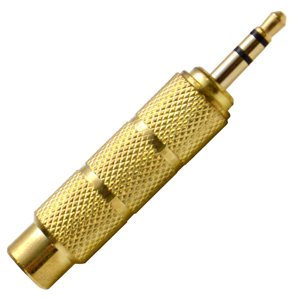 """Seismic Audio 1/4"""" Female to 1/8"""" Male Adapter (Gold) Converter for iPod, iPhone, Android, etc Gold - SAPT122"""