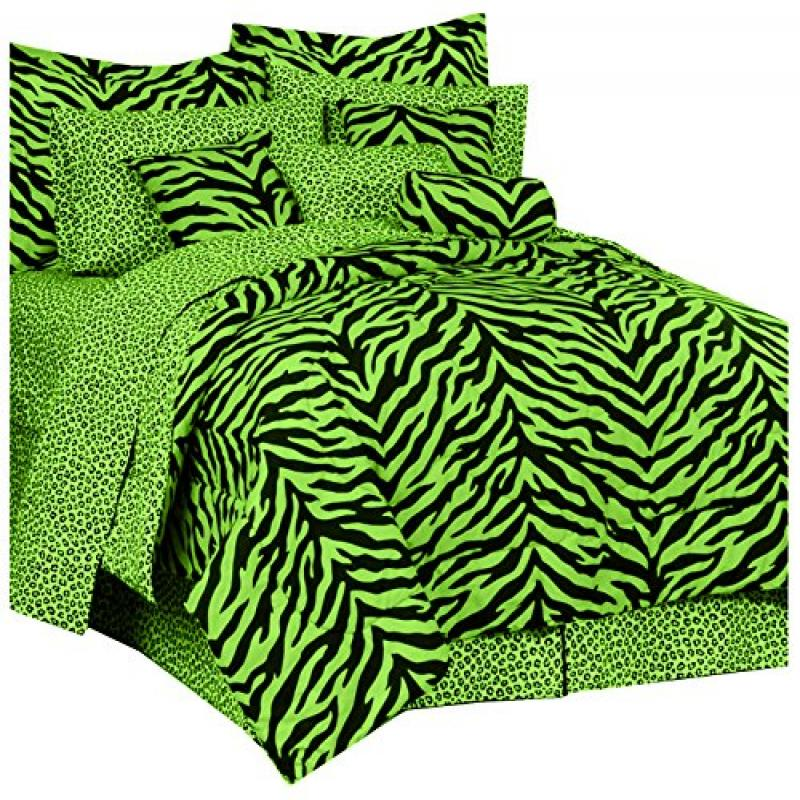 Zebra Print Bed Bed in a Bag - Lime Green and Black - XL Twin