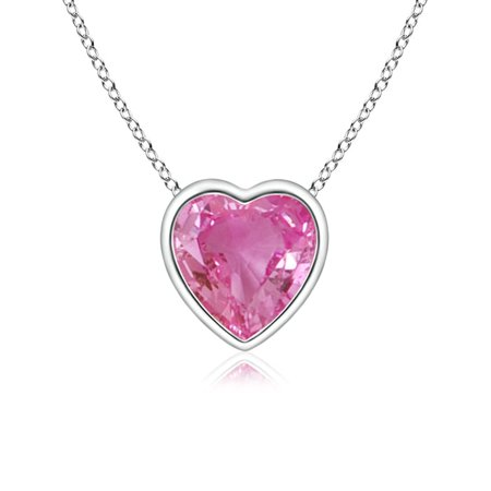 White Gold Pink Sapphire Pendant - September Birthstone Necklace - Bezel-Set Solitaire Heart Pink Sapphire Pendant in 14K White Gold (5mm Pink Sapphire) - SP0152PS_N-WG-AAA-5