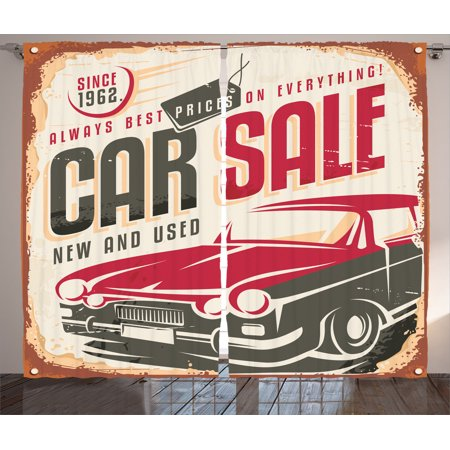1960S Decor Curtains 2 Panels Set, Nostalgic Car Sale Sign New And ...