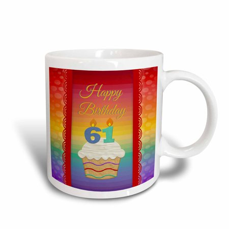 3dRose Cupcake with Number Candles, 61 Years Old Birthday - Ceramic Mug,