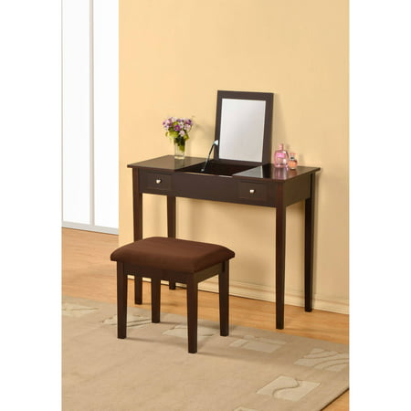 William's Home Furnishing Bodai Vanity, Multiple Colors William's Home Furnishing Bodai Vanity, Multiple Colors:2 drawersStraight legsMirror with storage underneathStool includedDimensions: 36 L x 16 W x 29.75 H