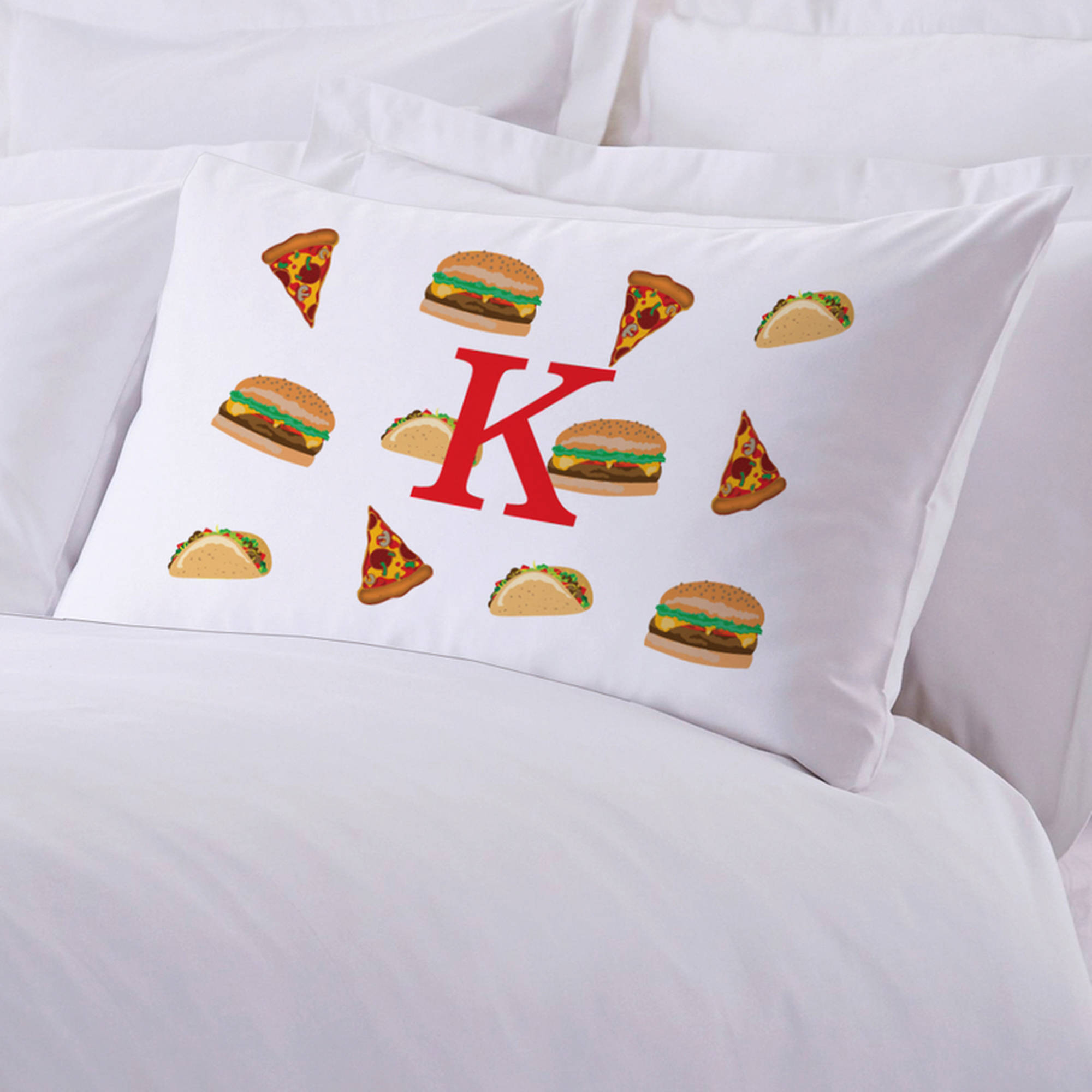 "Personalized Food Initial Pillow Case, 20"" x 30"""