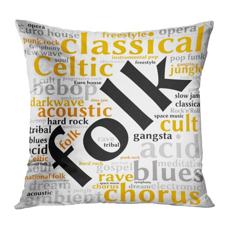 ECCOT Acid Folk Word Cloud Gradient Grey Music Acoustic Ambient Bebop Blues  Celtic Pillow Case Pillow Cover 16x16 inch
