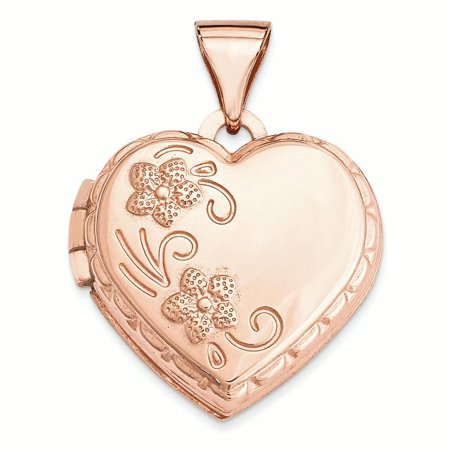 14K Rose Gold Domed Heart Locket Charm Pendant - Lockets With Charms