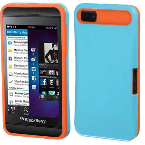Blackberry Z10 MyBat Back Protector Cover, Baby Blue/Orange Card Wallet