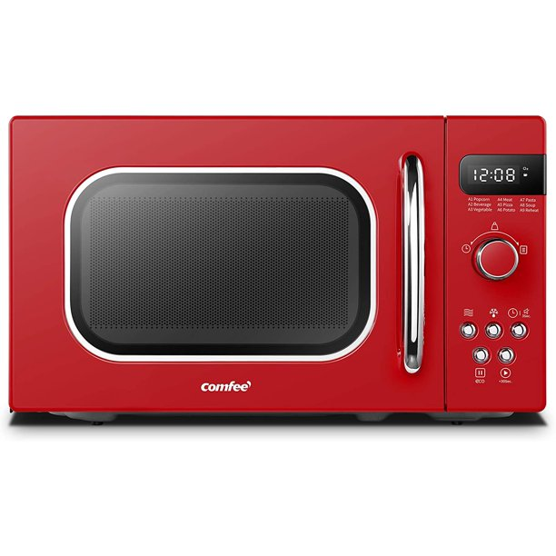 Comfee Retro Countertop Microwave Oven With Compact Size Position Memory Turntable Sound On Off Button Child Safety Lock And Eco Mode 0 7cu Ft 700w Passionate Red Am720c2ra R Walmart Com