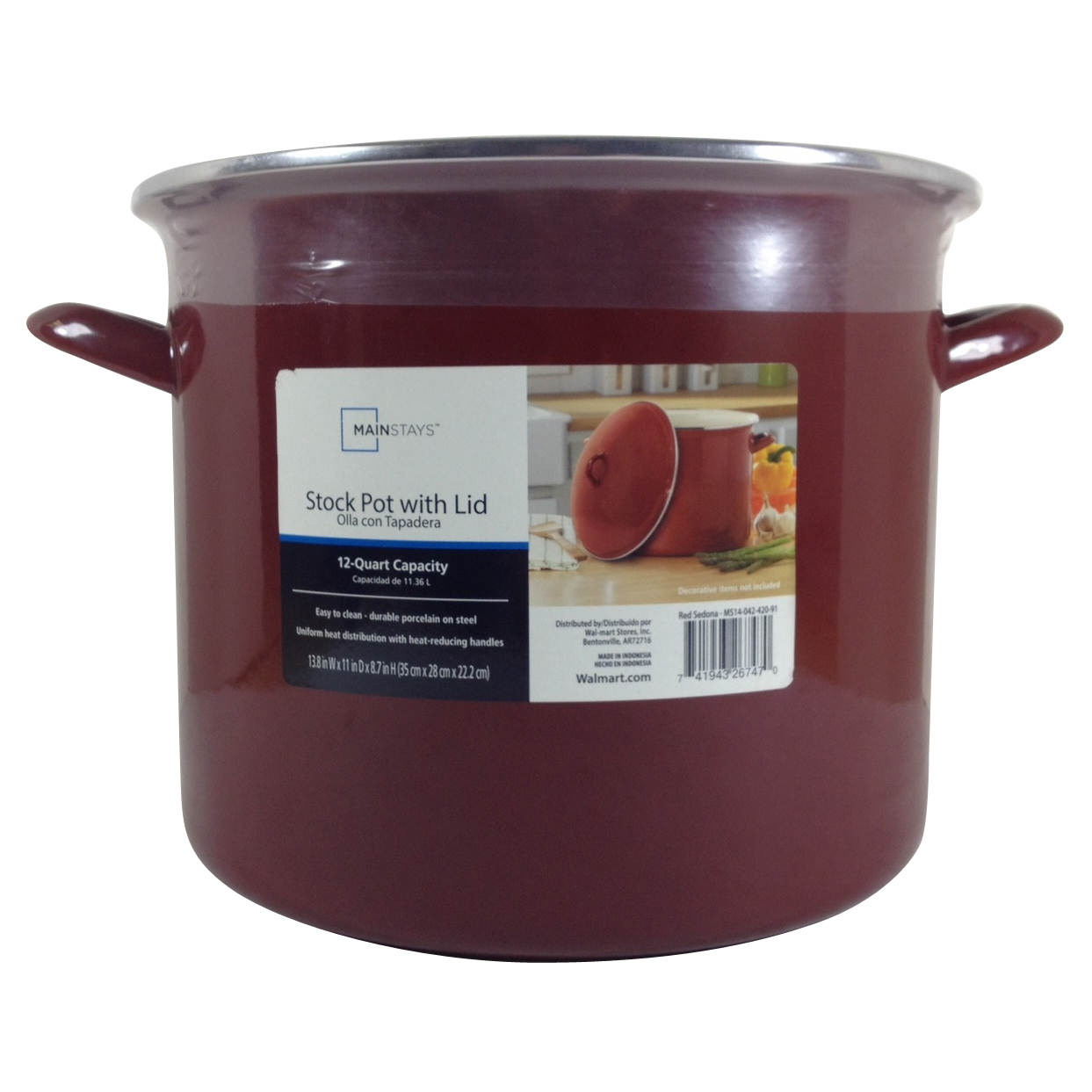 Mainstays 12-Quart Stock Pot, Red Sedona