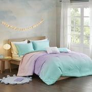 Home Essence Teen Dazzle Metallic Glitter Reversible Comforter Set, Blue, Twin/Twin XL
