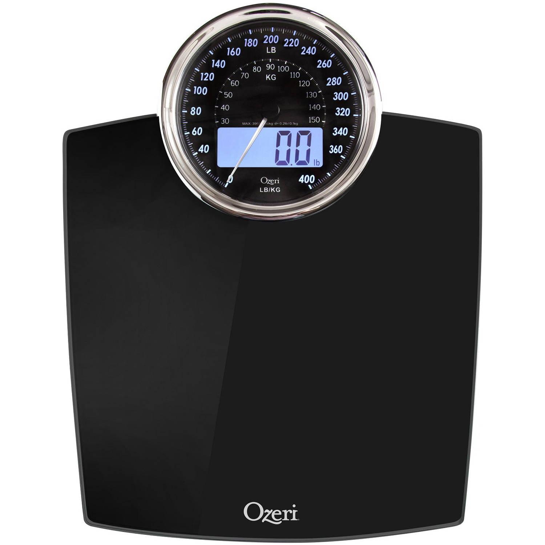 ozeri rev digital bathroom scale with electro-mechanical weight
