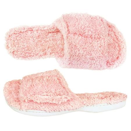 Dearfoams Fuzzy Terry Pink Slide Slippers, Pink, - Funky Punk