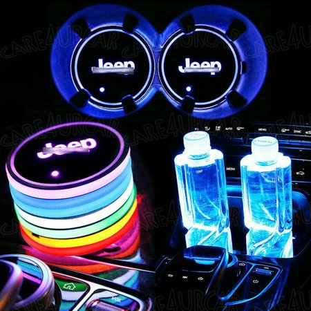 2PCS 7 Colors LED Car Cup Holder Mat Coaster Pad Atmosphere Light for Jeep](Light Up Coaster)