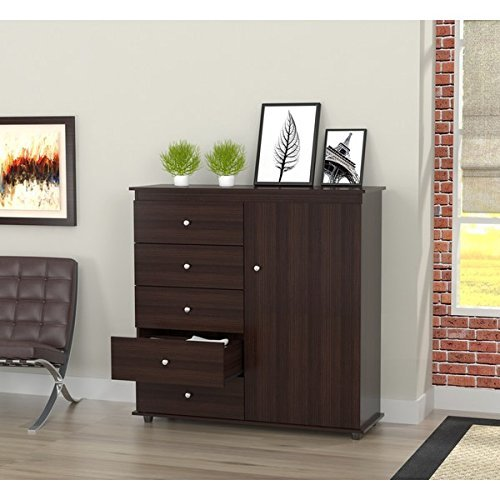 Modern armoire dresser combo espresso wenge for Armoire penderie wenge