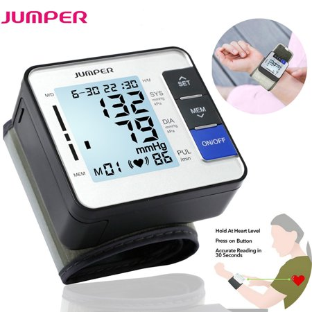 JUMPER 900W Automatic Wrist Blood Pressure Monitor Cuff Kit by Balance Digital BP Meter for Home Use with Large LCD