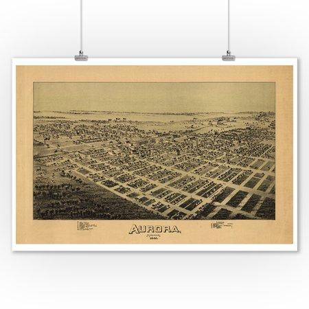 Antique Panoramic Map Print - Aurora, Missouri - Panoramic Map (9x12 Art Print, Wall Decor Travel Poster)