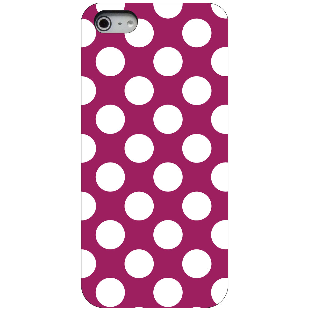 CUSTOM Black Hard Plastic Snap-On Case for Apple iPhone 5 / 5S / SE - White & Dark Fuchsia Polka Dots