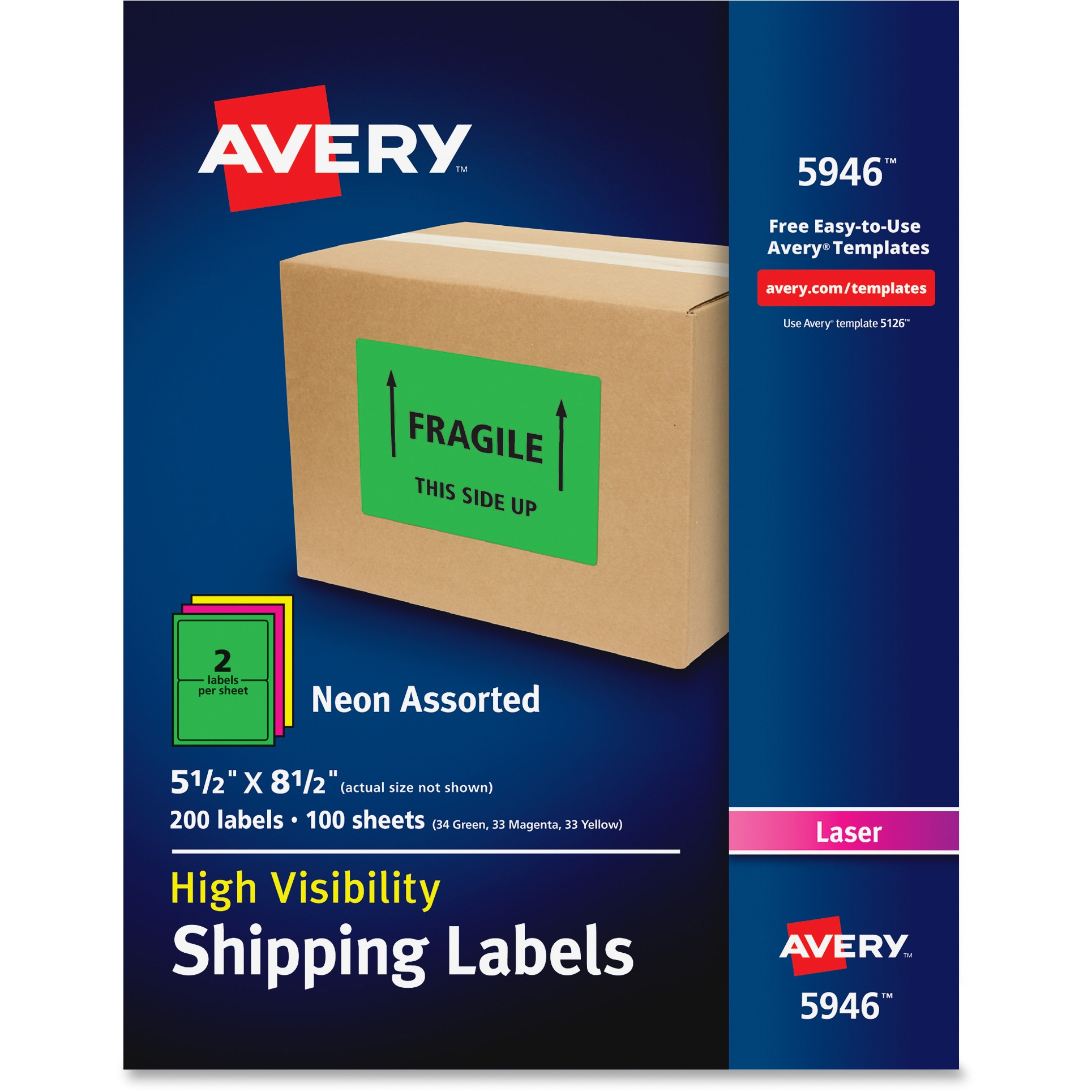 Avery Neon Shipping Label, Laser, 5 1/2 x 8 1/2, Neon Assorted, 200/Box