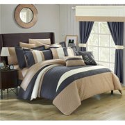 Chic Home CS3026-US Decor Pillows, Window Treatments Bed in a Bag Comforter Set with Sheets - Grey - Queen - 24 Piece